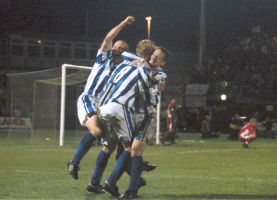 Oatway, Rogers and Carpenter celebrate Chesterfield game 01 may 2001
